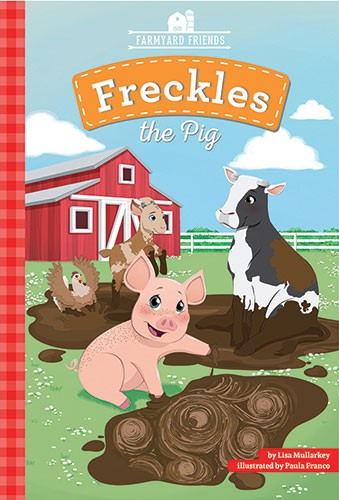 Paula Franco Illustration - paula franco, paula, franco, mass, commercial, cover, digital, educational, advertising, editorial, novelty, fiction, young reader, photoshop, illustrator, farm yard, animals, cow, pig, hen, chicken, goat, friends, barn, barn, sky, grass, mud