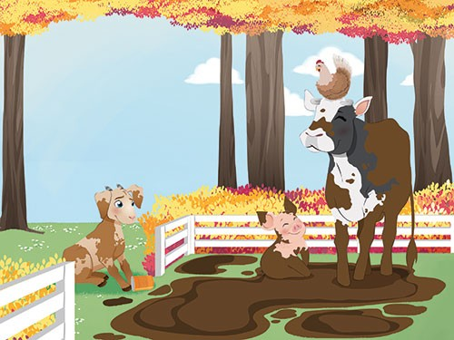 Paula Franco Illustration - paula franco, paula, franco, mass, commercial, digital, educational, advertising, editorial, novelty, fiction, young reader, photoshop, illustrator, farm yard, animals, cow, pig, goat, dog, YA, young readers, mud, trees, clouds, friendship