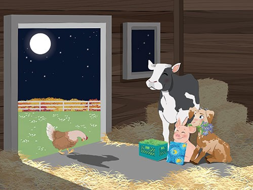 Paula Franco Illustration - paula franco, paula, franco, mass, commercial, digital, educational, advertising, editorial, novelty, fiction, young reader, photoshop, illustrator, cow, pig, goat, chicken, barn, nighttime, friends, cute, sweet, YA, young readers