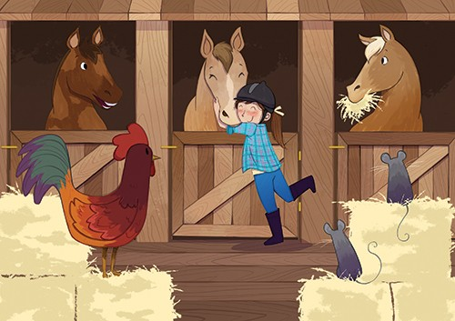 Paula Franco Illustration - paula franco, paula, franco, mass, commercial, digital, educational, advertising, editorial, novelty, fiction, young reader, photoshop, illustrator, horse, horses, animal, stables, chicken, mouse, mice, person, people, YA, young reader