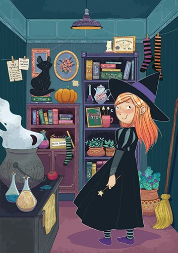 Paula Franco Illustration - paula franco, paula, franco, mass, commercial, digital, educational, advertising, editorial, novelty, fiction, young reader, photoshop, illustrator, girl, witches, YA, young reader, cat, pet, pumpkin, books, broom, witches