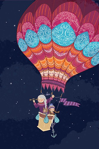 Paula Franco Illustration - paula franco, paula, franco, mass, commercial, digital, educational, advertising, editorial, novelty, fiction, young reader, photoshop, illustrator, cute, sweet, YA, young reader, girl, child, woman, family, relatives, hot air balloon, night sky, night, b