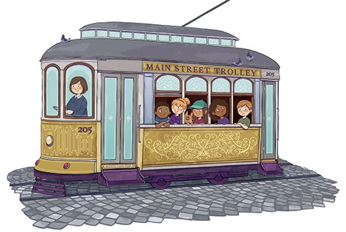 Paula Franco Illustration - paula franco, paula, franco, mass, commercial, digital, educational, advertising, editorial, novelty, fiction, young reader, photoshop, illustrator, cute, sweet, YA, young reader, girl, boy, child, children, boys, girls, trolley, tram, cart, car, trolley