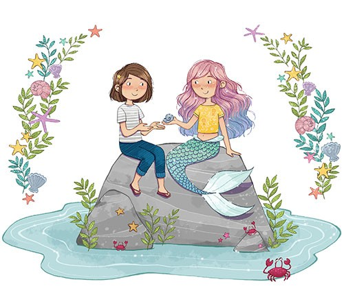Paula Franco Illustration - paula franco, paula, franco, mass, commercial, digital, novelty, fiction, young reader, photoshop, illustrator, cute, sweet, mermaid, girl, friends, people, characters, rocks, water, sea, crab, shells, flowers, seaweed, tail, starfish, magical, fantasy