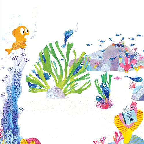 Puy Pinillos Illustration - puy, pillinos, puy pillinos, digital, mixed media, trade, commercial, picture book, novelty, animals, birds, bright, colourful, young, fishes, goldfish, blue, plants, waters, oceans, sea life, sea, bubbles, adults, moustache, rocks, reading, worms, educat