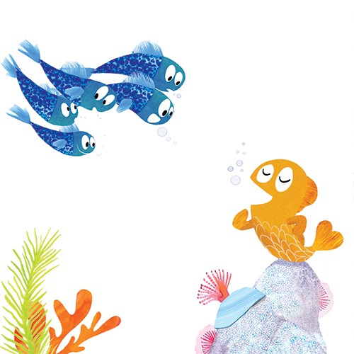 Puy Pinillos Illustration - puy, pillinos, puy pillinos, digital, mixed media, trade, commercial, picture book, novelty, animals, birds, bright, colourful, young, goldfishes, bubbles, singing, talking, announcing, rocks, corals, reefs, shells, underwater, seas, oceans, sea life, blu