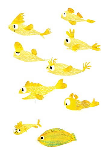 Puy Pinillos Illustration - puy, pillinos, puy pillinos, digital, mixed media, trade, commercial, picture book, novelty, animals, bright, colourful, young, fishes, yellow, textured, printed, fins, scales, underwater, sea life,