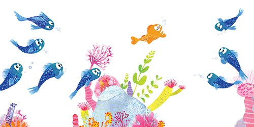 Puy Pinillos Illustration - puy, pillinos, puy pillinos, digital, mixed media, trade, commercial, picture book, novelty, animals, bright, colourful, young,fishes,whales, blues, goldfishes, sea life, underwater, creatures, rocks, reefs, corals, plants, friends, bubbles, water, oceans