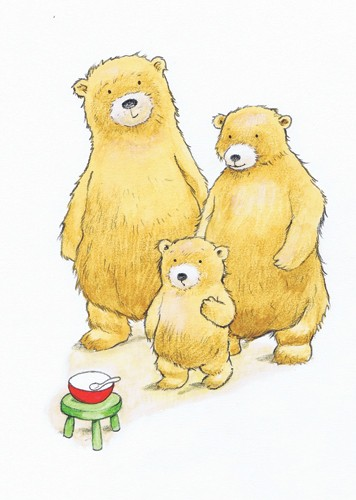 Peter Wilks Illustration - peter, wilks, peter wilks, paint, painted, watercolour, water colour, traditional, commercial, educational, picture book, picturebook, fiction, acrylic, colour, colourful, YA, young reader, bears, bear, cub, family, animals, three bears, goldilocks, fairy