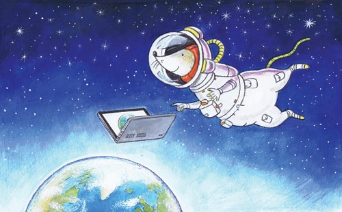 Peter Wilks Illustration - peter, wilks, peter wilks, paint, painted, watercolour, water colour, traditional, commercial, educational, picture book, picturebook, fiction, acrylic, colour, colourful, YA, young reader, animal, mouse, space, astronaut, transfer, stars, earth, planet, laptop