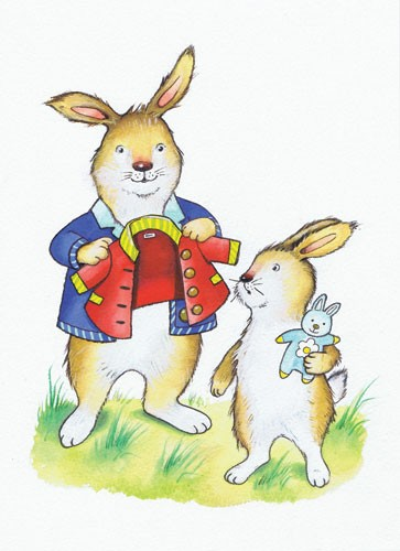 Peter Wilks Illustration - peter, wilks, peter wilks, paint, painted, watercolour, water colour, traditional, commercial, educational, picture book, picturebook, fiction, acrylic, colour, colourful, YA, young reader, animals, rabbits, bunny, teddy, toy, coat, grass, cute, sweet