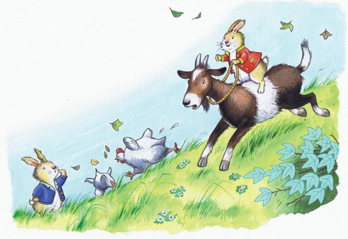Peter Wilks Illustration - peter, wilks, peter wilks, paint, painted, watercolour, water colour, traditional, commercial, educational, picture book, picturebook, fiction, acrylic, colour, colourful, YA, young reader, animals, goat, rabbit, bunny, chickens, play, playing play time,