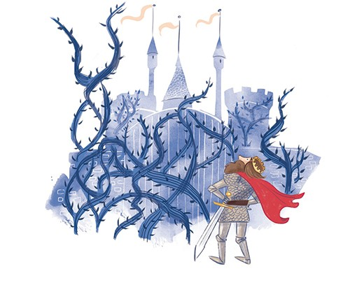 Rocio Del Moral Illustration - rocio del moral, illustrator, digital, fiction, colour, colourful, texture, pencil, line work, fantasy, prince, king, crown, knight, character, medieval, fairytale, castle, thrones, brambles, bush, gate, danger, dangerous, sleeping, beauty, classic,