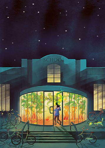 Rocio Del Moral Illustration - rocio del moral, illustrator, digital, fiction, colour, colourful, texture, pencil, line work, characters, teenagers, school, building, welcome, party, people, adventure, gas, smoke, green, night, sky, lights, stars, bicycles, middle grade, stink bomb, pr
