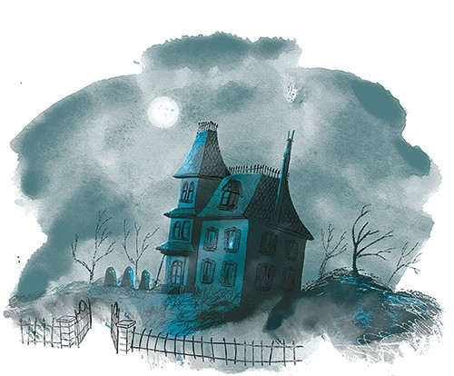 Rocio Del Moral Illustration - rocio del moral, illustrator, digital, fiction, colour, colourful, texture, pencil, line work, house, building, haunted house, spooky, halloween, night, sky, moon, clouds, gates, graveyard, ghosts, trees, windows, scary, scary story,
