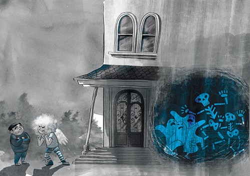 Rocio Del Moral Illustration - rocio del moral, illustrator, digital, fiction, colour, texture, pencil, line work, black and white, b & w, spot colour, house, building, haunted house, spooky, halloween, scary, scary story, people, skeletons, ghosts, creatures, door, windows,