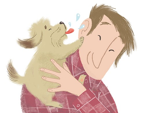 Rocio Del Moral Illustration - rocio del moral, illustrator, digital, fiction, colour, colourful, texture, pencil, line work, character, man, person, dog, pet, friends, love, lick, wet, kiss, cute, sweet, family, animal, happy, friends,