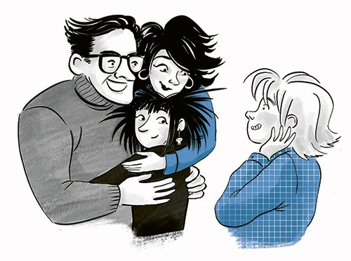 Rocio Del Moral Illustration - rocio del moral, illustrator, digital, fiction, colour, colourful, texture, pencil, line work, black and white, b & w, spot colour, family, parents, mother, father, child, hug, embrace, love, happy, middle grade, vignette, blue, jumpers, sweaters, fashion