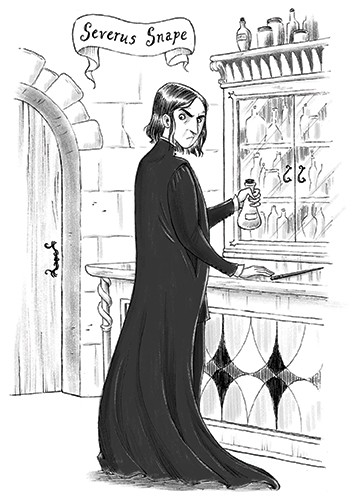 Roberta Tedeschi Illustration - roberta tedeschi, roberta, tedeschi, digital, photoshop, illustrator, educational, fiction, YA, young reader, b+w, black and white, character, snape, magic, sketch