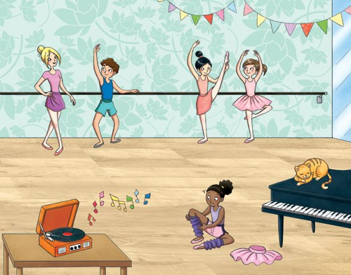 Roberta Tedeschi Illustration - roberta tedeschi, roberta, tedeschi, digital, educational, fiction, YA, young reader, colour, colourful, people, children, child, person, figures, figurative, girls, animal, cat, music, piano, record, decorations, mirror,  dancing, dancers, ballet, show,