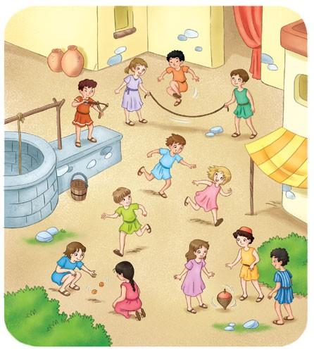 Roberta Tedeschi Illustration - oberta tedeschi, roberta, tedeschi, digital, educational, fiction, YA, young reader, colour, colourful, people, person, child, children, boy, girl, playing, play time, village, friends, friendship, games, houses, buildings