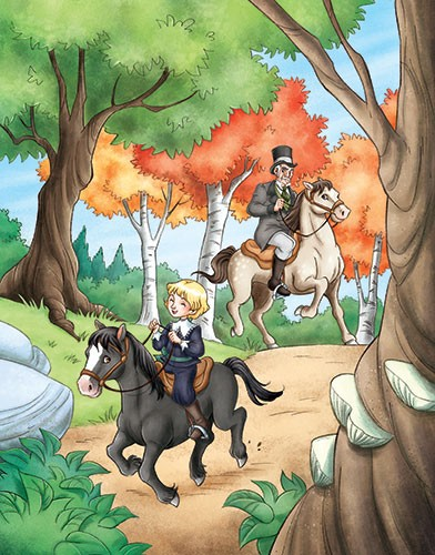 Roberta Tedeschi Illustration - roberta tedeschi, roberta, tedeschi, digital, photoshop, illustrator, educational, fiction, YA, young reader, colour, colourful, people, person, characters, boy, prince, riding, woods, trees, grass, nature, green, man, horse