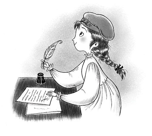 Roberta Tedeschi Illustration - roberta tedeschi, roberta, tedeschi, digital, photoshop, illustrator, educational, fiction, YA, young reader, black and white, b&w, black & white, little women, characters, girls, young girly, books, hat, plaits, reading, writing, ink,