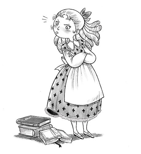 Roberta Tedeschi Illustration - roberta tedeschi, roberta, tedeschi, digital, photoshop, illustrator, educational, fiction, YA, young reader, black and white, b&w, black & white, little women, characters, girls, young girly, books, hat, plaits, reading, dress