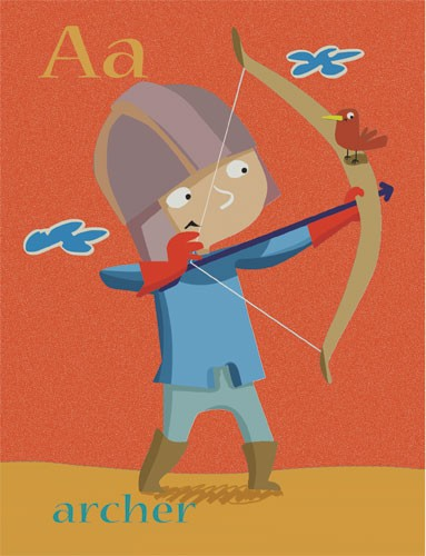 Sandra Aguilar Illustration - sandra aguilar, sandra, aguilar, digital, educational, novelty, fiction, alphabet, people, archer, archery, children, bow