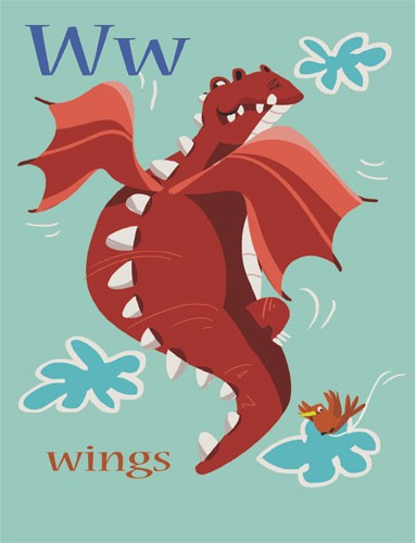 Sandra Aguilar Illustration - sandra aguilar, sandra, aguilar, digital, educational, novelty, fiction, alphabet, dragons, monsters, flying, wings, animals, fantasy