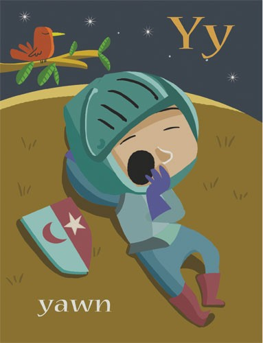 Sandra Aguilar Illustration - sandra aguilar, sandra, aguilar, digital, educational, novelty, fiction, alphabet, children, boys, knights, sleepy, tired, medieval