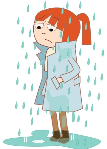Sandra Aguilar Illustration - sandra aguilar, sandra, aguilar, digital, educational, novelty, fiction, vector, illustrator, girl, child, person, figure, rain, weather, puddle, ginger, coats