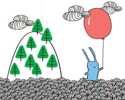 Sandra Aguilar Illustration - sandra aguilar, sandra, aguilar, digital, educational, novelty, fiction, vector, illustrator, animal, rabbit, bunny, quirky, line, black line, balloon, pattern, clouds, trees
