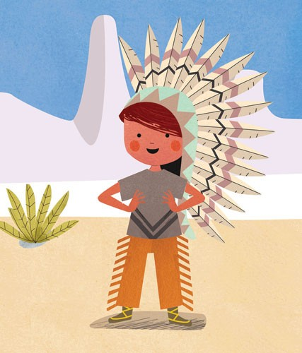 Sandra Aguilar Illustration - sandra aguilar, sandra, aguilar, digital, educational, novelty, fiction, vector, illustrator, YA, young reader, cute , sweet, colourful, colour, boy, child, figure, figurative, person, dress up, playing, play time, head dress, mountains