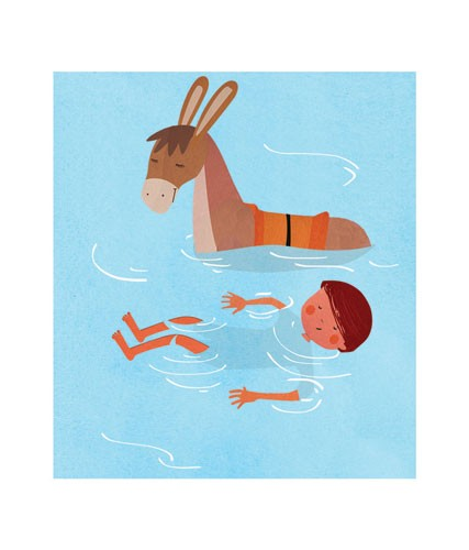 Sandra Aguilar Illustration - sandra aguilar, sandra, aguilar, digital, educational, novelty, fiction, vector, illustrator, YA, young reader, cute , sweet, donkey, animal, boy, child, person, figure, figurative, water, swimming, friends, friendship, play time