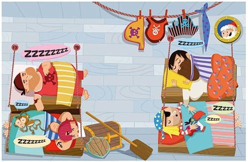 Sandra Aguilar Illustration - sandra aguilar, sandra, aguilar, digital, educational, novelty, fiction, board, mass market, vector, illustrator, young reader, pirates, ship, sleeping, humour, bed, hats, monkey