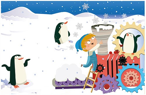 Sandra Aguilar Illustration - sandra aguilar, sandra, aguilar, digital, educational, novelty, fiction, vector, illustrator, YA, young reader, penguin, snow, train, animal, festive