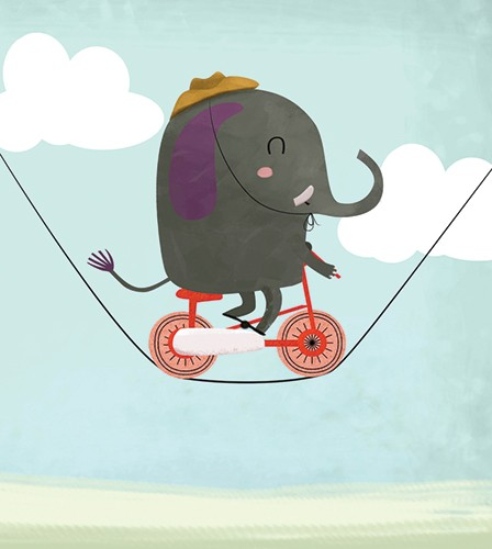 Sandra Aguilar Illustration - sandra aguilar, sandra, aguilar, digital, educational, novelty, fiction, vector, illustrator, young reader, YA, cute, sweet, animal, elephant, bike, bicycle, clouds