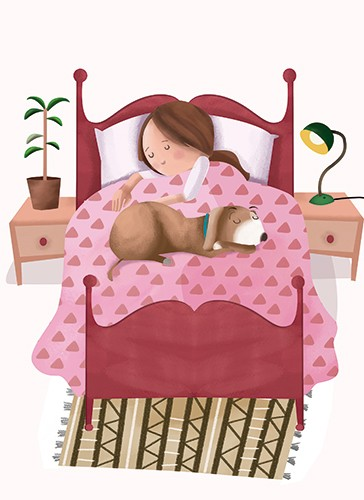 Sandra Aguilar Illustration - sandra aguilar, sandra, aguilar, digital, educational, novelty, fiction, vector, illustrator, YA, young reader, bed, bedroom, dog, animal, girl, see, night time,