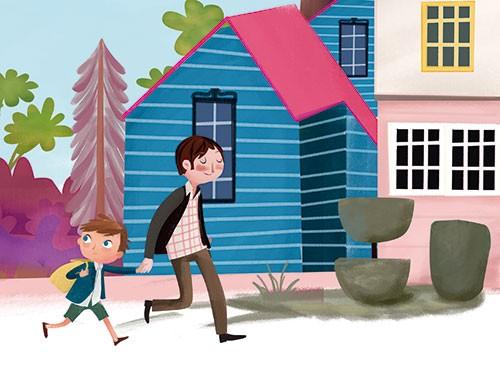 Sandra Aguilar Illustration - sandra aguilar, sandra, aguilar, digital, educational, novelty, fiction, vector, illustrator, YA, young reader, colourful, boy, father, parent, child, figures, characters, walking, road, houses, trees, street, bushes, town, nature, rucksack, bag, backpack