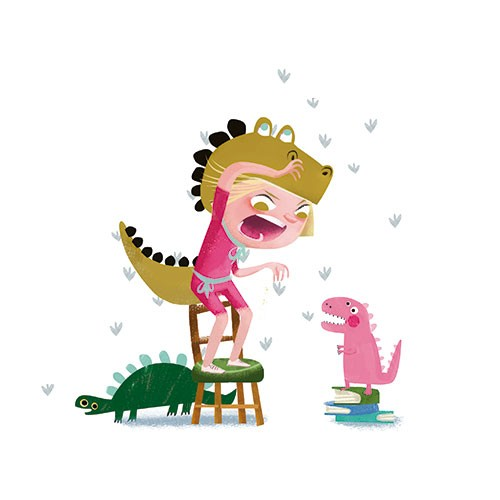 Sandra Aguilar Illustration - sandra aguilar, sandra, aguilar, digital, educational, novelty, fiction, vector, illustrator, YA, young reader, girl, character, child, dinosaur, dressing up, costume, roar, roaring, playing, toys, dinosaurs, chair, footprints, claws, books,
