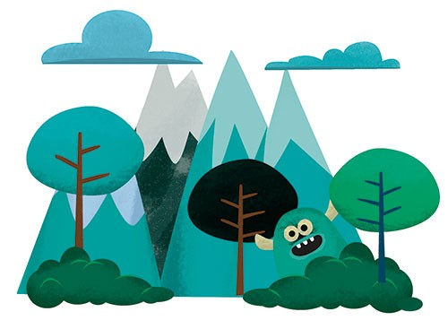 Sandra Aguilar Illustration - sandra aguilar, sandra, aguilar, digital, educational, novelty, fiction, vector, illustrator, YA, young reader, colourful, mountains, nature, clouds, monster, hiding, trees, bushes, cute, sky, creature,