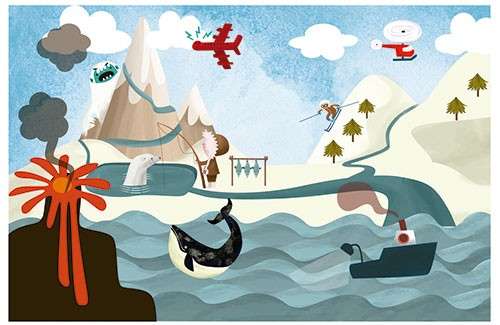 Sandra Aguilar Illustration - sandra aguilar, sandra, aguilar, digital, educational, novelty, fiction, vector, illustrator, young reader, travel, snow, mountains, yeti, geography, places, water, sea, ocean, whale, animals, monster, lava, volcano, ice fishing, fishing, eskimo, fish
