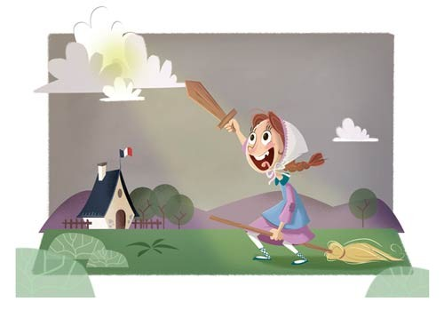 Susana Diaz Illustration - susana, diaz, susana diaz, commercial, educational, fiction, picture books, educational, comics, cartoons, young reader, digital, illustrator, photoshop, girls, broomsticks, houses, clouds, fields, french, flags, swords, flying, witches broomsticks