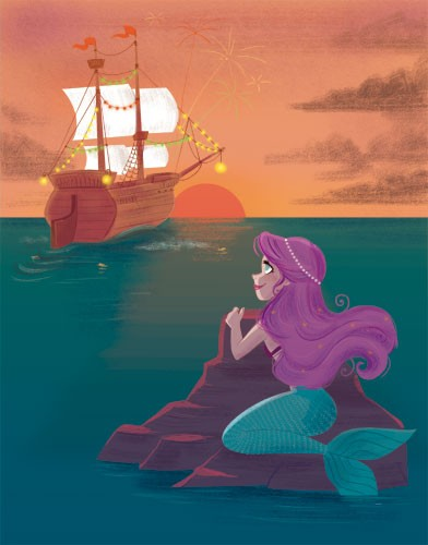 Susana Diaz Illustration - susana, diaz, susana diaz, commercial, educational, fiction, editorial, teenager, ya,young adult, comics, story boards, animation, young reader, digital, illustrator, photoshop, graphic novels, mermaid, rock, ship, boat, sunset, sun, water, ocean, water