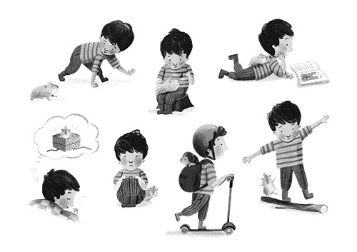 Stef Murphy Illustration - stef, murphy, stef murphy, illustrator, pencil, traditional, digital, mixed media, texture, black and white, b & w, boy, character, person, child, activities, gerbil, pet, animal, fluffy, love, scooter, skateboard, book, reading, playing, sleeping, dream,