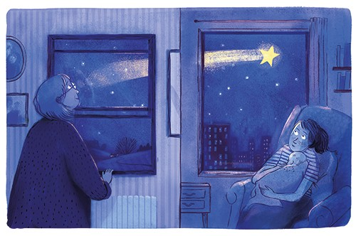 Stef Murphy Illustration - stef, murphy, stef murphy, illustrator, pencil, traditional, digital, mixed media, texture, colour, colourful, house, home, women, people, characters, window, shooting star, star, magical, magic, light, dark, bright, nighttime, sky, buildings, wonder, bed