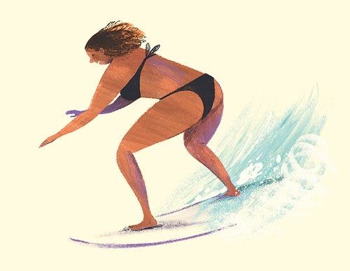 Stef Murphy Illustration - stef, murphy, stef murphy, illustrator, pencil, traditional, digital, mixed media, texture, colour, colourful, woman, character, person, surfer, surfing, sport, water, waves, surfboard, board, exciting, fun, hobby, activity, summer, beach, ocean, surf