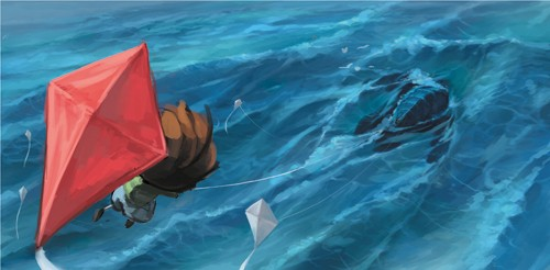 Sean Hayden Illustration - sean hayden, sean, hayden, paint, painted, digital, traditional, commercial, educational, fiction, picture books, waves, ocean, sea, kite, boy, little, flying, high