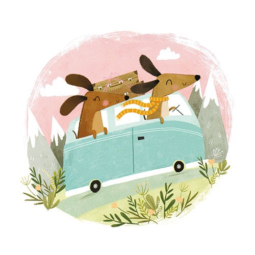 Samara Hardy Illustration - samara, hardy, samara hardy, illustration, photoshop, colour, colourful, digital, commercial, mass market, fiction, cute, sweet, dogs, animals, pets, sausage dogs, travel, caravan, mountains, nature, scarf, suitcase, happy, smile, road, car, adventure